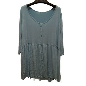 Cato Light Blue 2X Worn Button Front Gathered Top